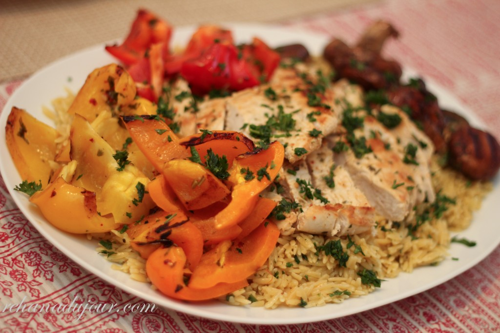 saffron orzo and grilled chicken and vegetables-31