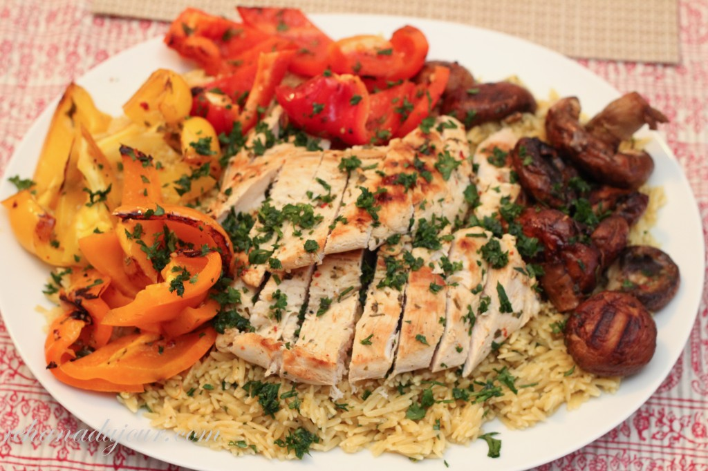 saffron orzo and grilled chicken and vegetables-34