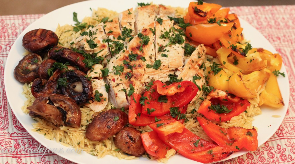 saffron orzo and grilled chicken and vegetables-36