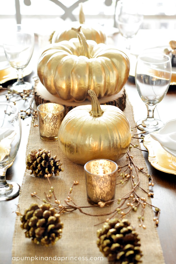 Fake and real pumpkins can be jazzed up with some gold spray paint.  http://apumpkinandaprincess.com/2013/10/thanksgiving-inspired-gold-table-decor-dinner-party.html